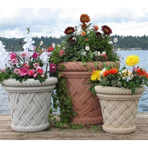 Vicenza Stock Pot sandstone basketweave garden pottery planters american made ships nationwide 5 colors