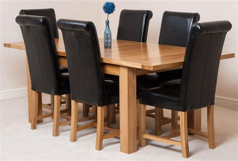 Dining Chairs Seattle Seattle Dining Set With 6 Black Chairs Oak Furniture King