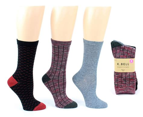 bulk patterned socks wholesale women s designer crew socks by k bell ribbed