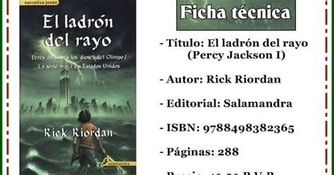 el ladron del rayo 8498380391 el palacio de los libros rese 241 a el ladr 211 n del rayo percy jackson i rick riordan