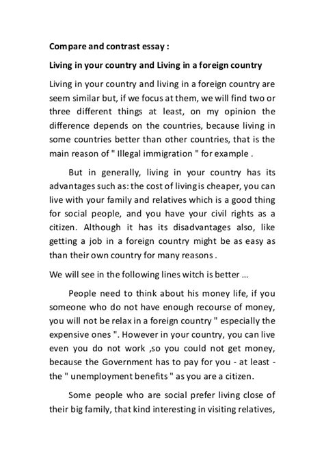 Living In A Foreign Country Essay by Compare And Contrast Essay
