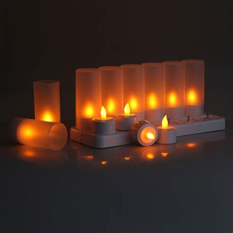 12pcs led rechargeable candle light flameless tea light