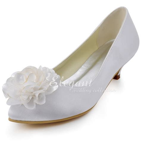 Comfortable Heels For Plus Size by Ep2093 White Pointed Toe Flower Low Heel Plus Size