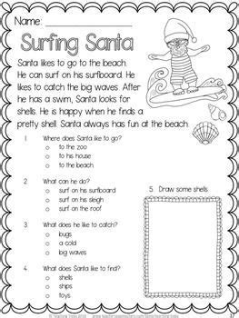 free christmas printable worksheets reading comprehension free surfing santa fun reading comprehension for