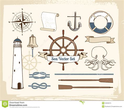 vintage nautical decoration set stock vector image 50930973