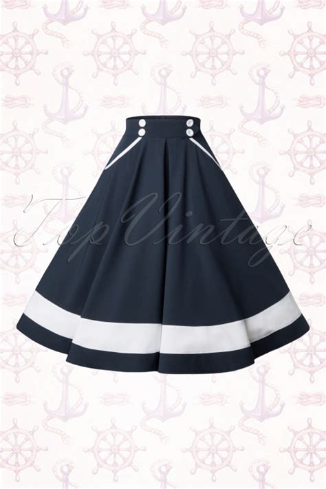 blue swing skirt 50s petra sailor swing skirt in navy