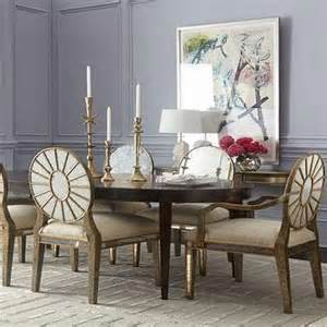 Allerton brown dining table and lela eglomise bronze dining chairs