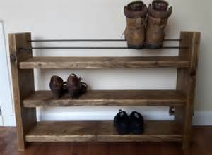 shoe rack rustic shoe rack wood shoe rack by