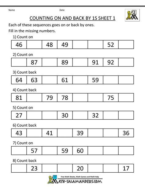 Practice Worksheets For Class 1 by Kindergarten Worksheets Counting To 200 Kindergarten