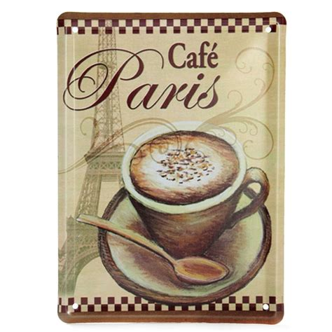 tin home decor coffee cup tin sign vintage metal plaque bar cafe home