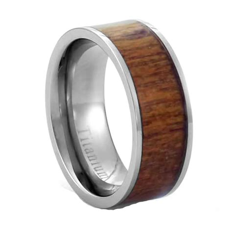 8mm eternity light brown redwood inlay titanium band s