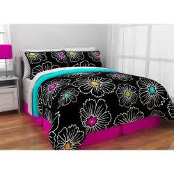 girls bed in a bag sets black white neon polka dots comforter shams sheets skirt