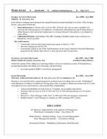 Account Manager Resume Sles by Sales Account Manager Resume Exle