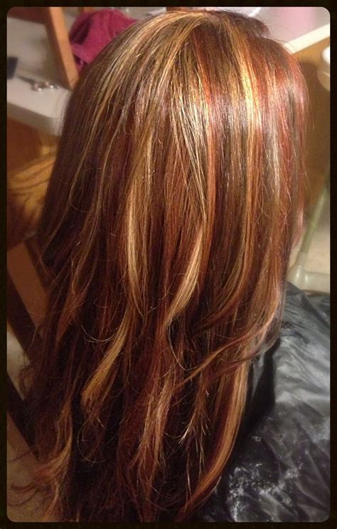 foil highlights for brown hair blonde red brown foils hair make up pinterest