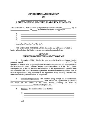 Llc Operating Agreement Forms And Templates Fillable Printable Sles For Pdf Word Pdffiller New Mexico Llc Operating Agreement Template