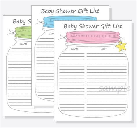 baby shower list of gifts template baby shower guest gift list printable diy jar design