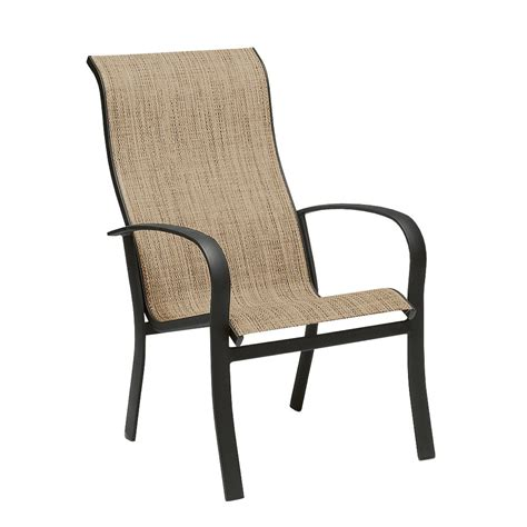Outdoor Patio High Chairs Woodard 2ph426 Fremont Sling Stackable Outdoor High Back Dining Arm Chair Homeclick