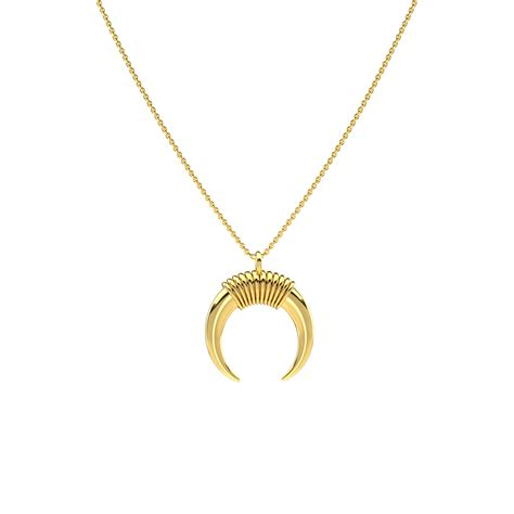 small gold horn necklace pascual jewelry more