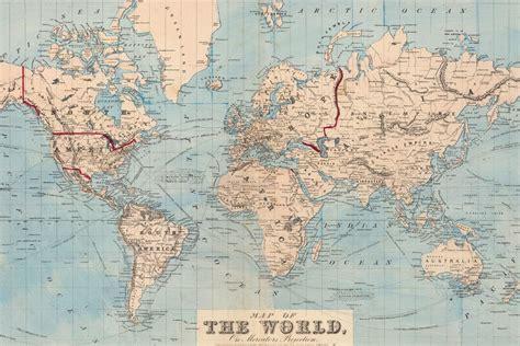 mural mapamundi azul vintage world map wallpaper map