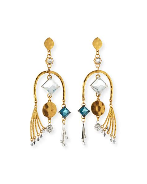 Asymmetric Drop Earrings sequin modern asymmetric drop earrings neiman