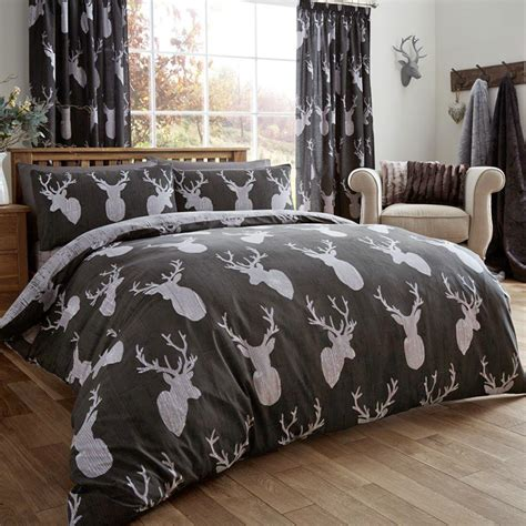 woodland bedding animal stag head duvet cover reversible printed bedding