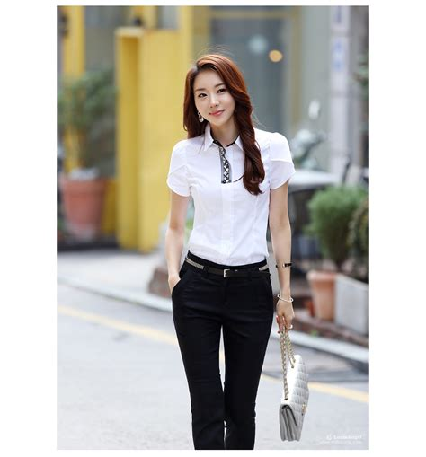 Top Kemeja Putih Fashion Casual Wanita Bagus Murah kemeja wanita modern lengan pendek model terbaru jual murah import kerja