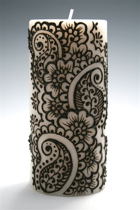henna design on candle henna candle with intricate indian style design by