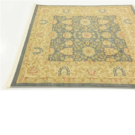 Oriental Traditional Floral Persian Style Rugs Blue 4 X 4 Style Rugs