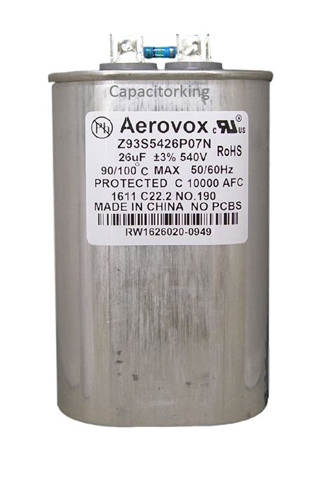 average capacitor lifespan aerovox lighting capacitor 26uf 540 volt high pressure sodium z93s5426p07n high pressure