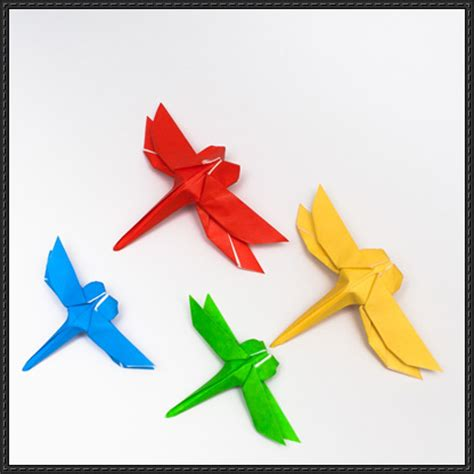 Dragonfly Paper Craft - how to fold an origami dragonfly