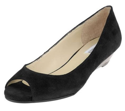 steve madden suede peep toe shoes on low wedge qvc