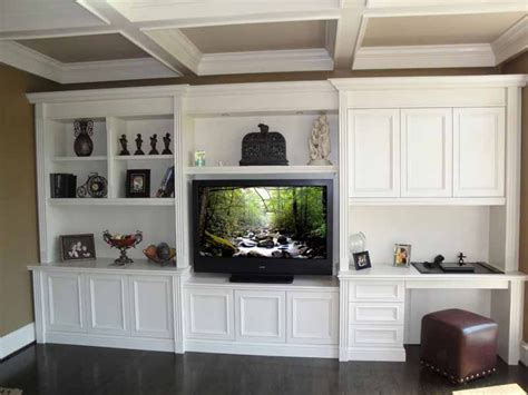 wall units with desk tv and bookshelves fluted built in design with my ceiling beams misc