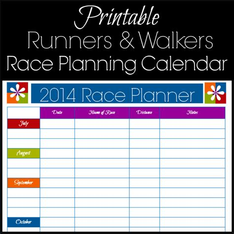 Printable Calendar Running | free printable race planning calendar for runners 5k to