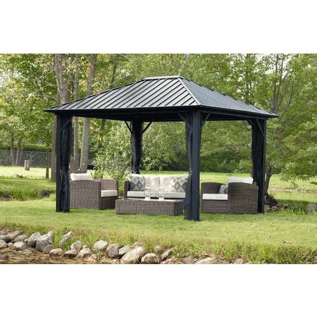 10x12 gazebo privacy curtain sojag genova 10 x 12 gazebo hard top with mosquito netting