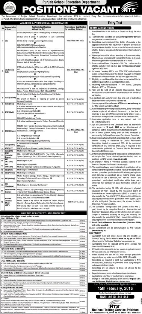 test pattern of nts for educators in punjab nts entry test application required for educators posts in