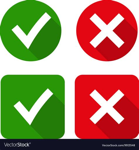 X By green checkmark ok and x icons royalty free vector image