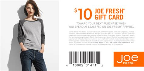 Joe Fresh Gift Card - joe fresh get 10 gift card when you spend 50 until sept 6 montreal deals blog