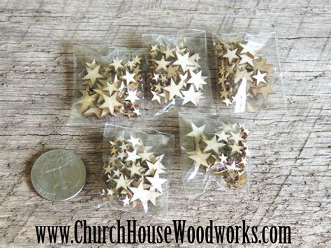 50 Tiny Mini Wood Stars  DIY Crafts Or Rustic Wedding