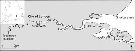 tidal river thames map location map of the river thames uk showing tidal limit at