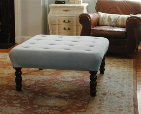 diy upholstered ottoman coffee table diy ottoman projects thrifty thursday 12
