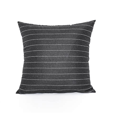 16 quot x 16 quot modern charcoal gray stripe throw pillow cover