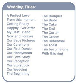 wedding title ideas wedding titles scrapbooking