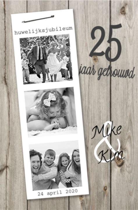 25 jaar getrouwd funny lovz uitnodiging 25 jaar getrouwd fotostrip en hout
