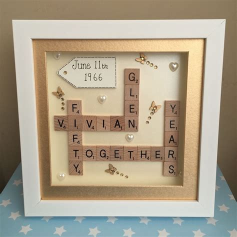 BOX FRAME SCRABBLE LETTERS FAMILY WEDDING ANNIVERSARY