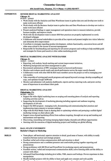 Marketing Analyst Resume by Digital Marketing Analyst Resume Sles Velvet