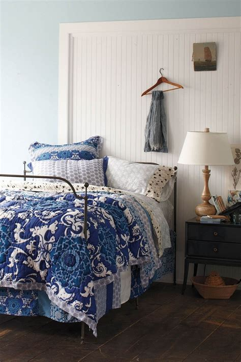 blue bed spread nip anthropologie alhambra queen quilt comforter indigo