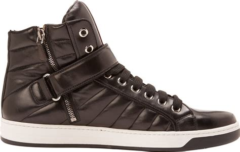 Rossa Top Black prada linea rossa quilted leather high top sneakers in brown lyst
