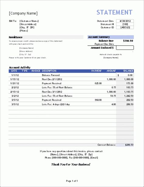 billing invoices monthly billing invoice statement template facebook