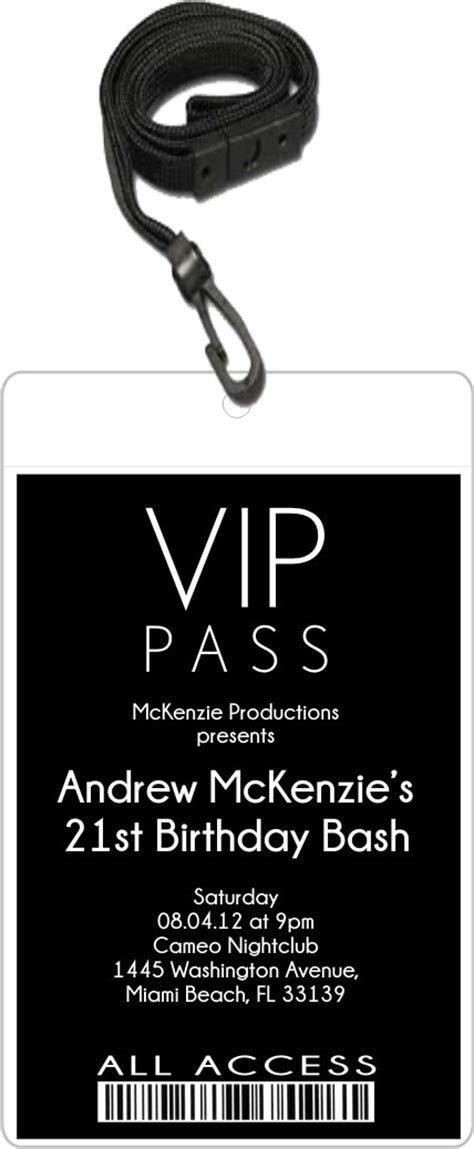Sleek Vip Pass Invitation With Lanyard Editable Background Color Personalized Party Invites Create Vip Passes Templates