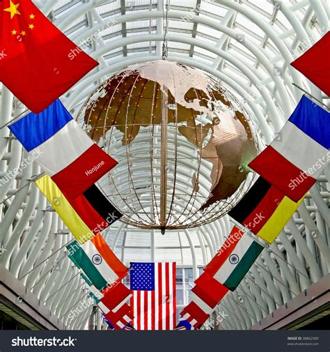 flags of the world display world flags and globe on display stock photo 38862589